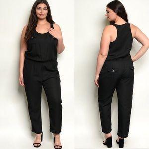 Plus Size Black Scoop Neck Jumpsuit Romper